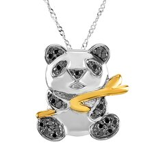 Sterling Silver Diamond Panda Pendant