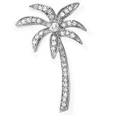Sterling Silver Diamond Palm Tree Pendant