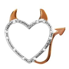 <strong>Dazzling Rock</strong> Sterling Silver Diamond Devil Heart Pendant