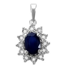 10K White Gold Royal Inspired Gemstone Pendant