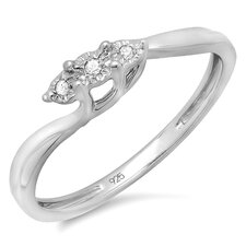 <strong>Dazzling Rock</strong> Sterling Silver Round Cut Diamond Swirl Promise Ring