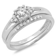 10K White Gold Round Cut Diamond Bridal Set