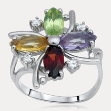 Rainbow Sterling Silver Marquise Gemstone Ring