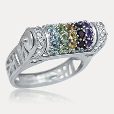 Rainbow Sterling Silver Round Cut Gemstone Ring