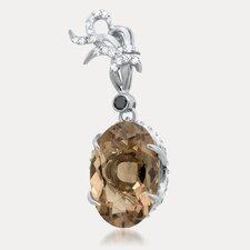 Grand Duchess Sterling Silver Oval Cut Gemstone Pendant