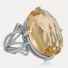 Carnevale Sterling Silver Oval Cut Yellow Citrine Ring