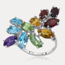 Rainbow Sterling Silver Marquise Cut Gemstone Ring