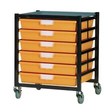 6 Tray Extra Wide Mobile Metal Rack