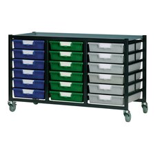 18 Tray Low Mobile Metal Rack