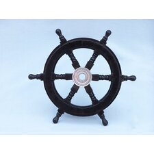 <strong>Handcrafted Model Ships</strong> Deluxe Class Pirate Ship Steering Wheel Wall Décor
