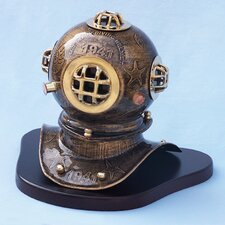 <strong>Handcrafted Model Ships</strong> Embossed Diver's Helmet with Base Figurine