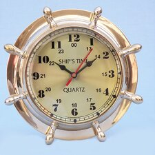 "<strong>Handcrafted Model Ships</strong> 8"" Nautical Double Dial Wheel Wall Clock"