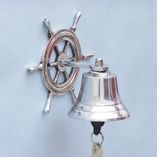 Ship Hanging Wheel Bell Wall Décor