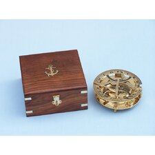 Round Sundial Compass with Rosewood Box
