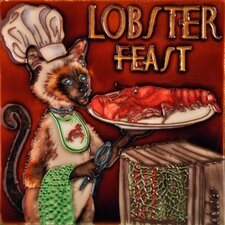 "8"" x 8"" Lobster Feast Chef Cat Tile"