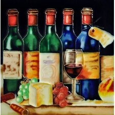 "8"" x 8"" 5 Wine Bottles & Cheese Party Tile"