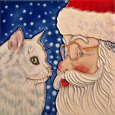 "8"" x 8"" Santa and Cat Tile"