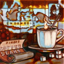 "8"" x 8"" Indonesia Coffee Map Art Tile in Brown"
