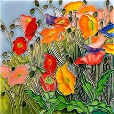 "<strong>En Vogue</strong> 8"" x 8"" Multi Colored Poppies Art Tile"