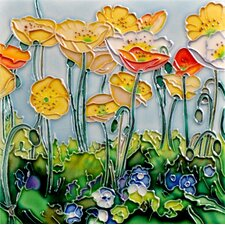 "8"" x 8"" Poppies Art Tile in Yellow"