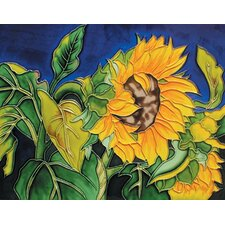 "14"" x 11"" Sunflower Art Tile in Multi"