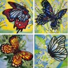 "4"" x 4"" 4 Butterflies Art Tile in Multi (Set of 4)"