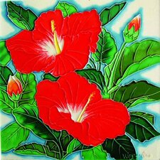 "8"" x 8"" Two Red Hibiscuses Art Tile"
