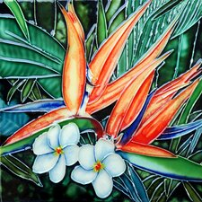 "8"" x 8"" Bird of Paradise Art Tile in Multi"