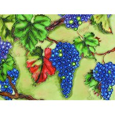 "14"" x 11"" Cobalt Blue Grapes on Branches Art Tile"