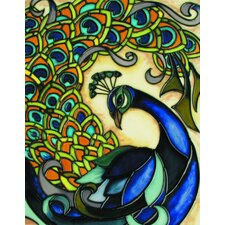 "<strong>En Vogue</strong> 14"" x 11"" Peacock Art Tile in Multi"