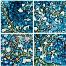 "4"" x 4"" Branches by Van Gogh Art Tile in Blue (Set of 4)"