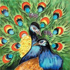"<strong>En Vogue</strong> 8"" x 8"" Peacock Art Tile in Multi"