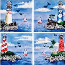 "4"" x 4"" Light Houses Art Tile in Blue (Set of 4)"