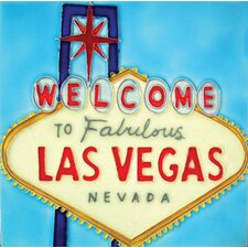 "8"" x 8"" Welcome to Las Vegas Art Tile in Multi"