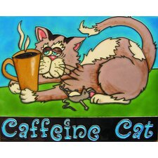 "14"" x 11"" Coffeine Cat, Taupe with Yellow Cup Art Tile"