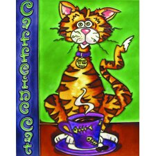 "14"" x 11"" Coffeine Cat, Orange with Purple Cup Art Tile"