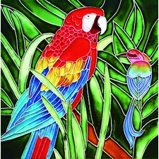"<strong>En Vogue</strong> 8"" x 8"" Red Parrot Art Tile"