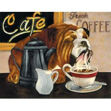 "14"" x 11"" Coffee Dog Art Tile in Multi"
