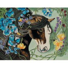 "14"" x 11"" Black Horse  Art Tile"