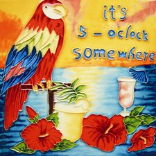 "8"" x 8"" ""It Is 5 O'clock Somewhere"" and a Parrot Art Tile in Multi"
