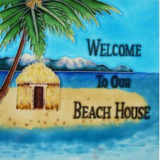 "<strong>En Vogue</strong> 8"" x 8"" Welcome to our Beach House Art Tile in Multi"