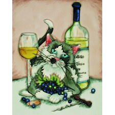 "14"" x 11"" Feline Cat Grey Art Tile"