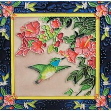 "<strong>En Vogue</strong> 8"" x 8"" Dancing Humming Bird on Left Art Tile in Multi"