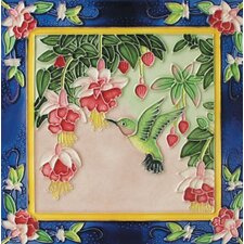 "<strong>En Vogue</strong> 8"" x 8"" Dancing Humming Bird on Right Art Tile in Multi"