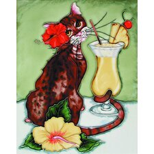 "14"" x 11"" Cocktail Cat with Pinta Colada Art Tile in Multi"