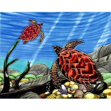 "14"" x 11"" Turtle Art Tile in Multi"