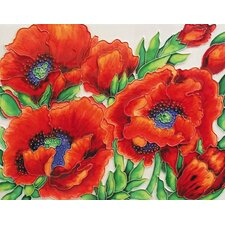 "<strong>En Vogue</strong> 14"" x 11"" Poppies Art Tile in Red"