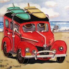 "8"" x 8"" Woody Car Art Tile in Red"