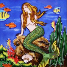 "8"" x 8"" Mermaid Art Tile in the Sea Art Tile in Multi"