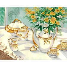 "14"" x 11"" Tea Pot Set Art Tile in White"